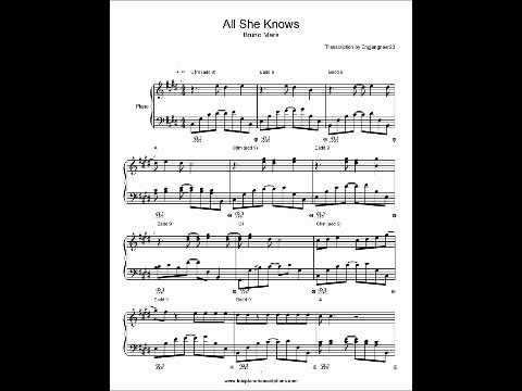 All She Knows Bruno Mars Piano sheet music